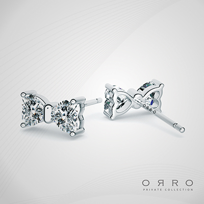ORRO Heart to Heart Earrings in 18K White Gold