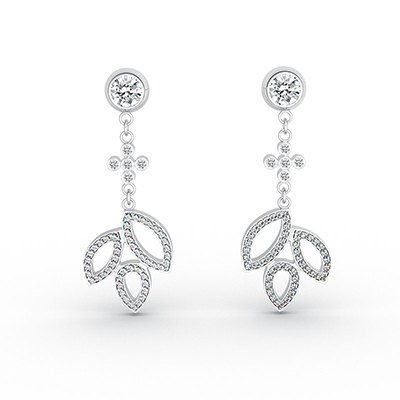ORRO Season of Love Ear Drops in 18K White Gold