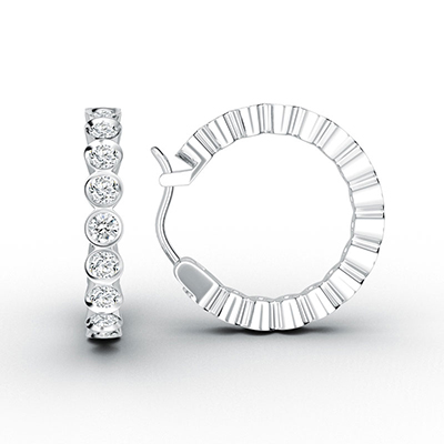 ORRO Completely Bazel-Set Loop Earrings (Medium) in 18K White Gold