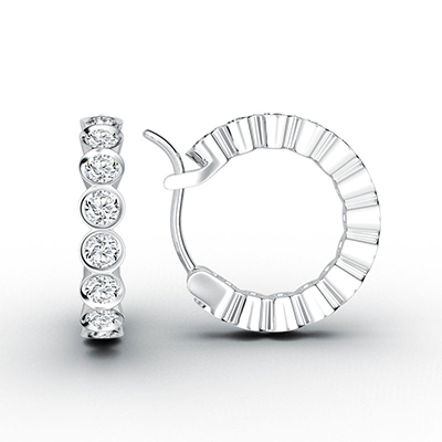 ORRO Completely Bazel-Set Loop Earrings (Small) in 18K White Gold