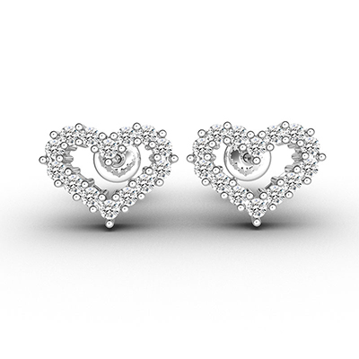 ORRO Love Edition Halo Heart Earrings in 18K Rose Gold