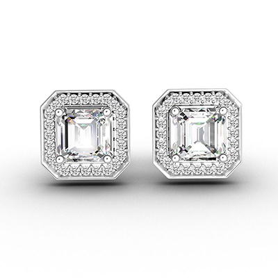 ORRO Neo-Vintage Asscher Stud Earrings in 18K Rose Gold