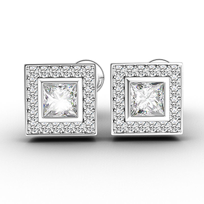 ORRO Framed Princess Cut Stud Earrings (0.50ct center stone) in 18K White Gold