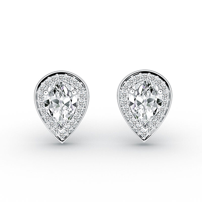 ORRO Royal Peardrop Earrings in 18K White Gold