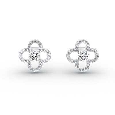 ORRO The Elusive Clover Earrings in 18K White Gold