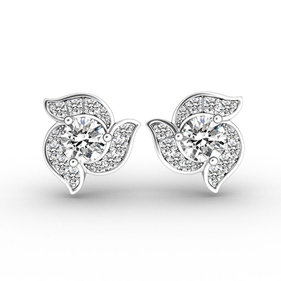 ORRO Orchid-Inspired Earrings in 18K White Gold