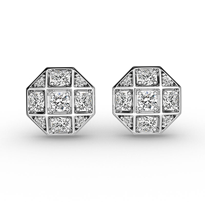 ORRO Cufflink-Inspired Earrings in 18K White Gold