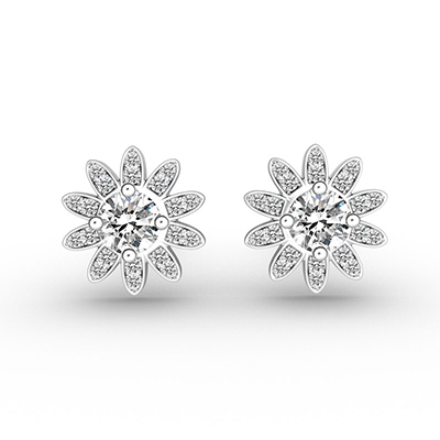 ORRO Flower Power Earrings in 18K White Gold