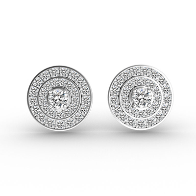 ORRO Triple Circles Earrings in 18K White Gold