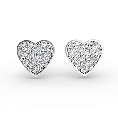 ORRO Forever in My Heart Earring in 18K White Gold