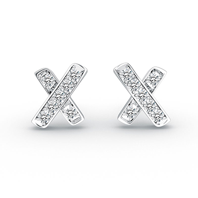 "ORRO ""X"" Marks My Heart Earrings in 18K White Gold"