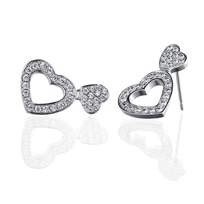 ORRO Romancia Hearts Earrings in 18K White Gold
