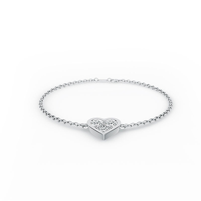 ORRO Chain Of Love Bracelet in 18K White Gold