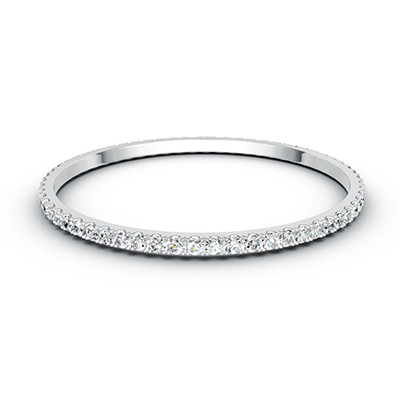 ORRO Classic Dazzling Hoop Bangle in 18K White Gold